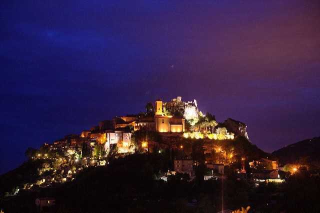 Eze village at night